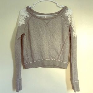 Free People Crop Sweatshirt with Lace Shoulders